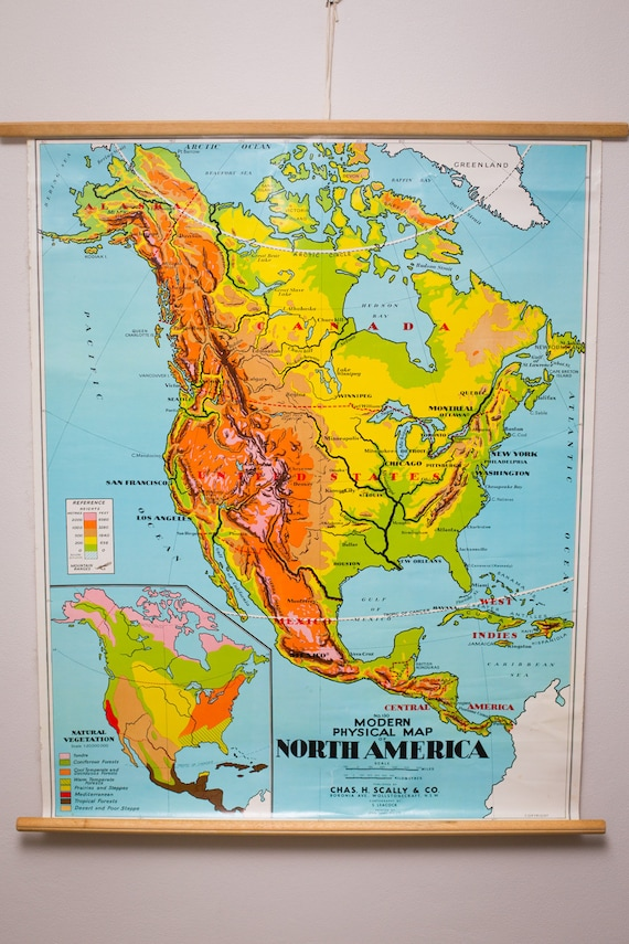 Vintage cloth canvas modern physical map of North America | Etsy