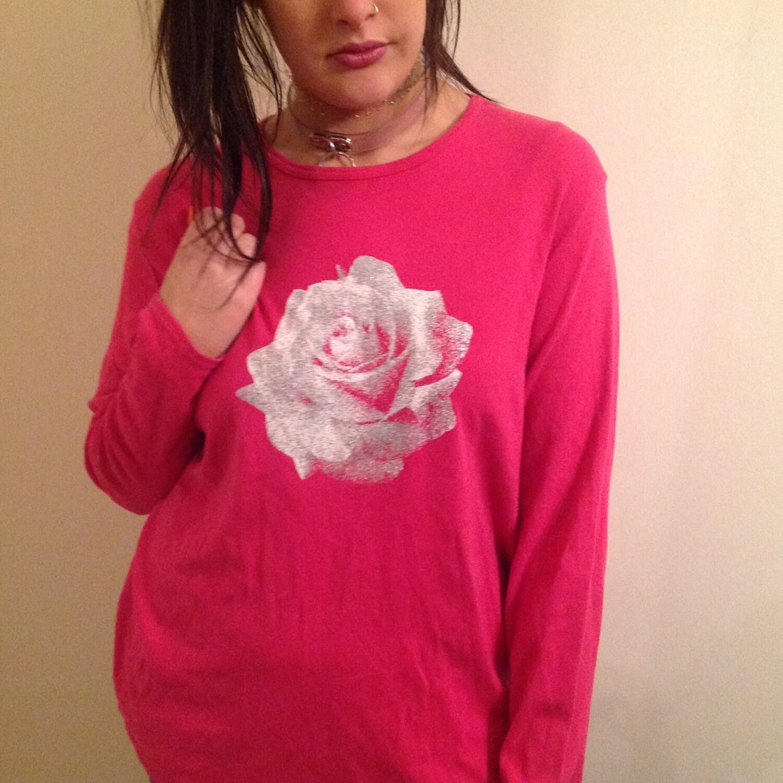 06f05c2e Pink glitter flower long sleeve t shirt UK 22 90s 00s vintage | Etsy