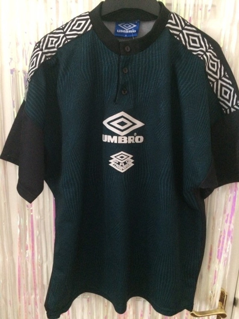 Umbro Pro Training Black And Green Logo Button Up Jersey M Etsy
