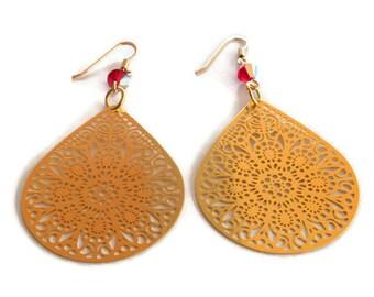 Gold Teardrop filigree earrings,  long chandelier earrings , boho earrings , statement earrings ,  gold earrings , Christmas gift, present