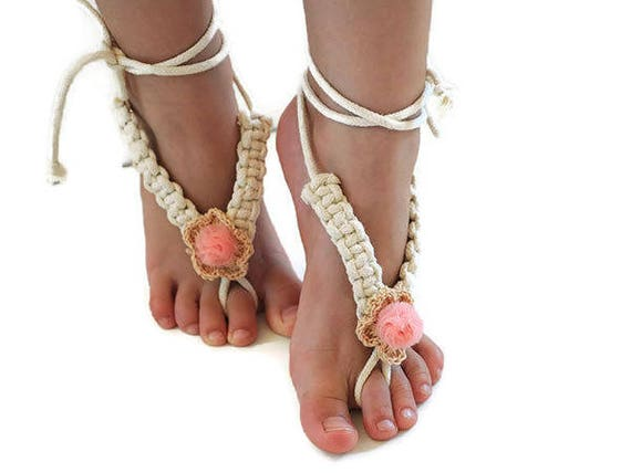 1beb6e5000bd89 Girl barefoot sandals macrame barefoot sandals yoga baby