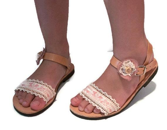Kids sandals, baby sandals, Leather Sandals , pink Sandals , lace Sandals , Infant sandals , Hippie Sandals , communion sandals, baptism