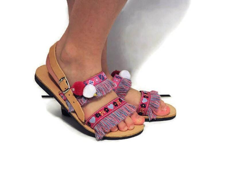 bb40bdb68 Pom pom Kids Sandals fringe sandals baby sandals Boho