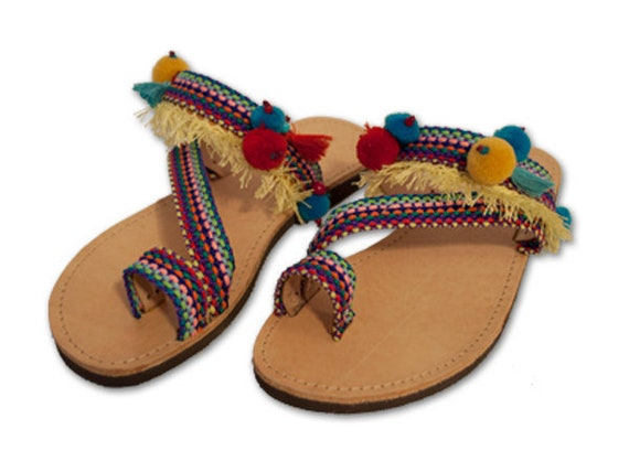 8b757d4398aa Boho Sandals Greek Leather Sandals Hippie Sandals Pom