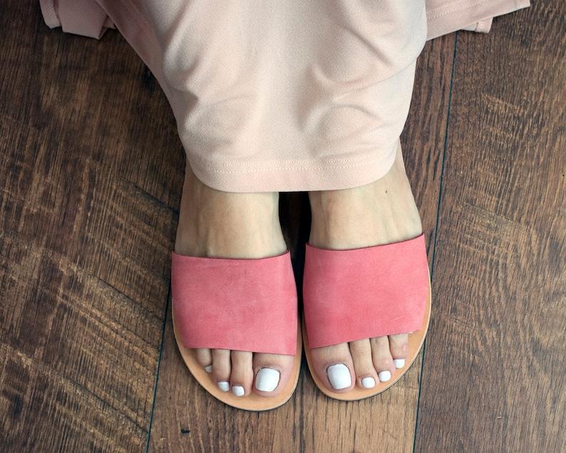 Suede leather slides women Greek leather sandals elegant hippie flats