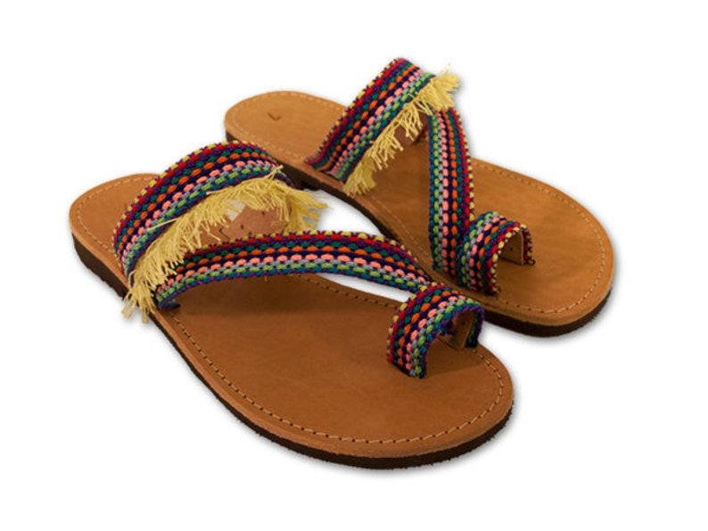 14a9c741e965 Greek leather Sandals rainbow Hippie Sandals Pom Pom