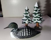 Hand carved loon, loon sculpture, common loon carved decoy, common loon carved decoy, common loon wood collectible
