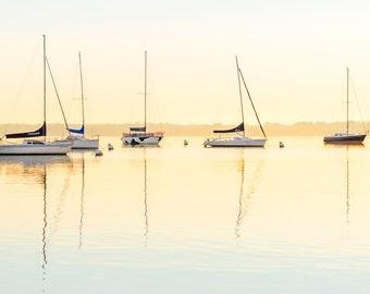 Sailboat Art, Mendota Sailboats at Sunrise, Madison Wisconsin Photography, UW Madison