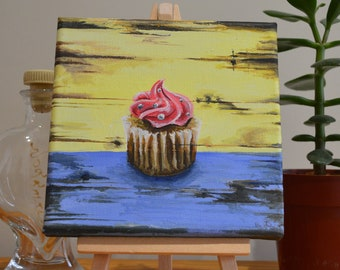 Shabby Chic Pastel Cupcake Original Acrylic Painting on Canvas