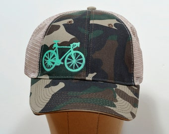 Cyclocross CX Bicycle Bike Trucker Hat - Camouflage and Tan Brown Mesh Back  Hat with Green Screen Print 68d67652c974