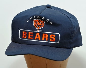 Vintage 1980 s Chicago Bears Embroidered Logo Navy Blue and Orange Snap  Back Trucker Hat - Ball Cap 669e784d0