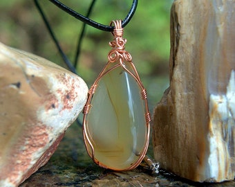 Copper wire wrapped transparent gemstone Montana Agate free form pendant with leather necklace