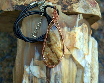 Natural brown stone Picture Jasper free form copper wire wrapped gemstone pendant