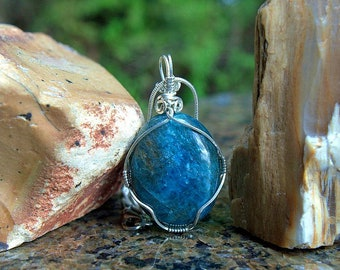 Blue Apatite pendant silver wire wrapped natural mineral oval shape gemstone with necklace