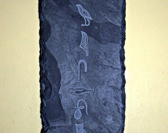 Black Slate plaque hand carved stone Egyptian hieroglyph antiquated wall art