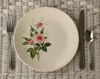 Vintage Dinner Plate, Alpine Rose by Fairbanks, Pink Roses With Green Leaves, Baby's Breath, Cream, Ivory,  China Plate