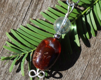 Rare Mexican Fire Agate and Angel Aura Healing Stone Necklace with Positive Healing Energy!