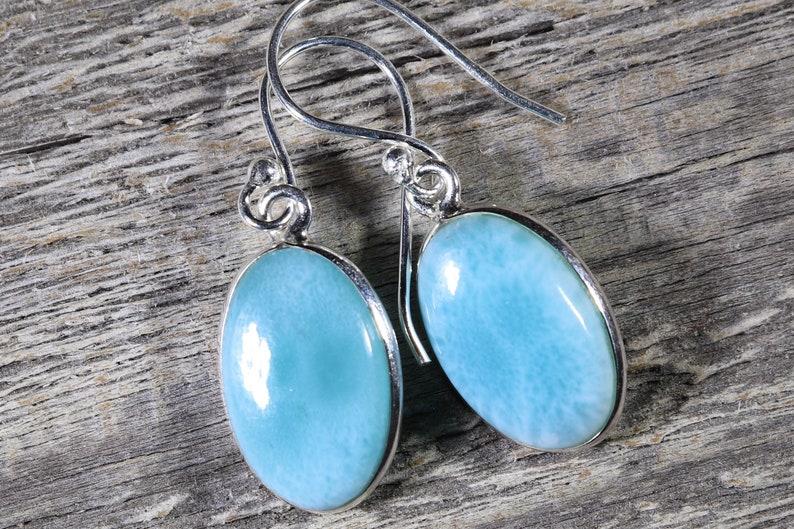 Larimar Healing Stone Earrings 925 Silver with Positive Healing Energy!