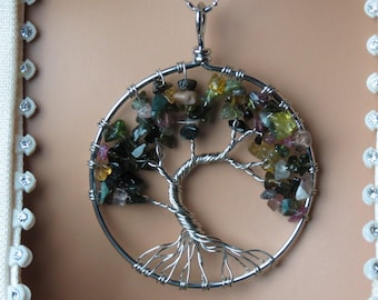 Watermelon Tourmaline Tree of Life Necklace!