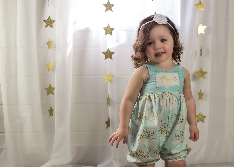 98deb597e Baby Girl Romper Unicorn Romper Aqua Mint Romper Sparkly   Etsy