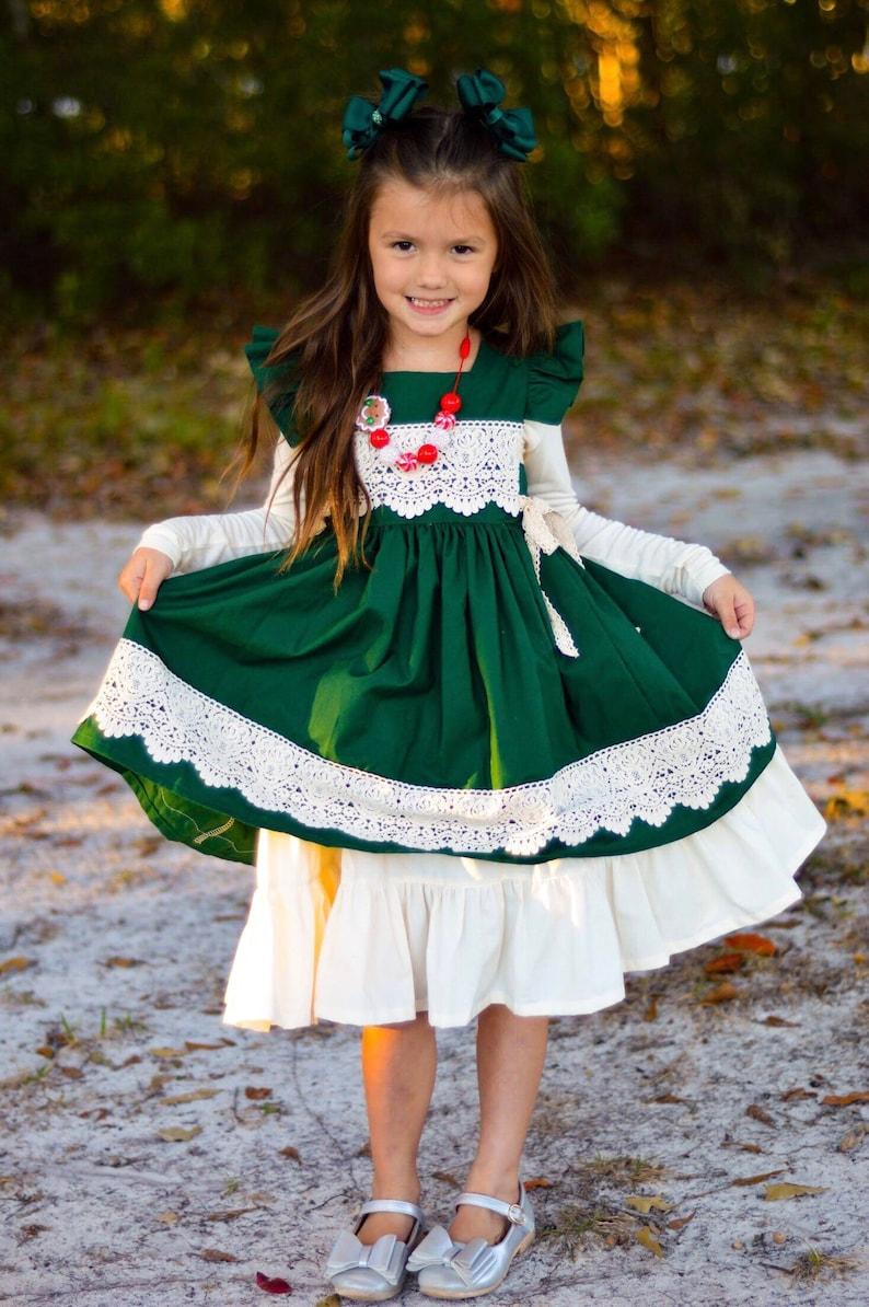 72e691cd0 Girls Green Christmas Dress Holiday Dress Wrap Dress | Etsy