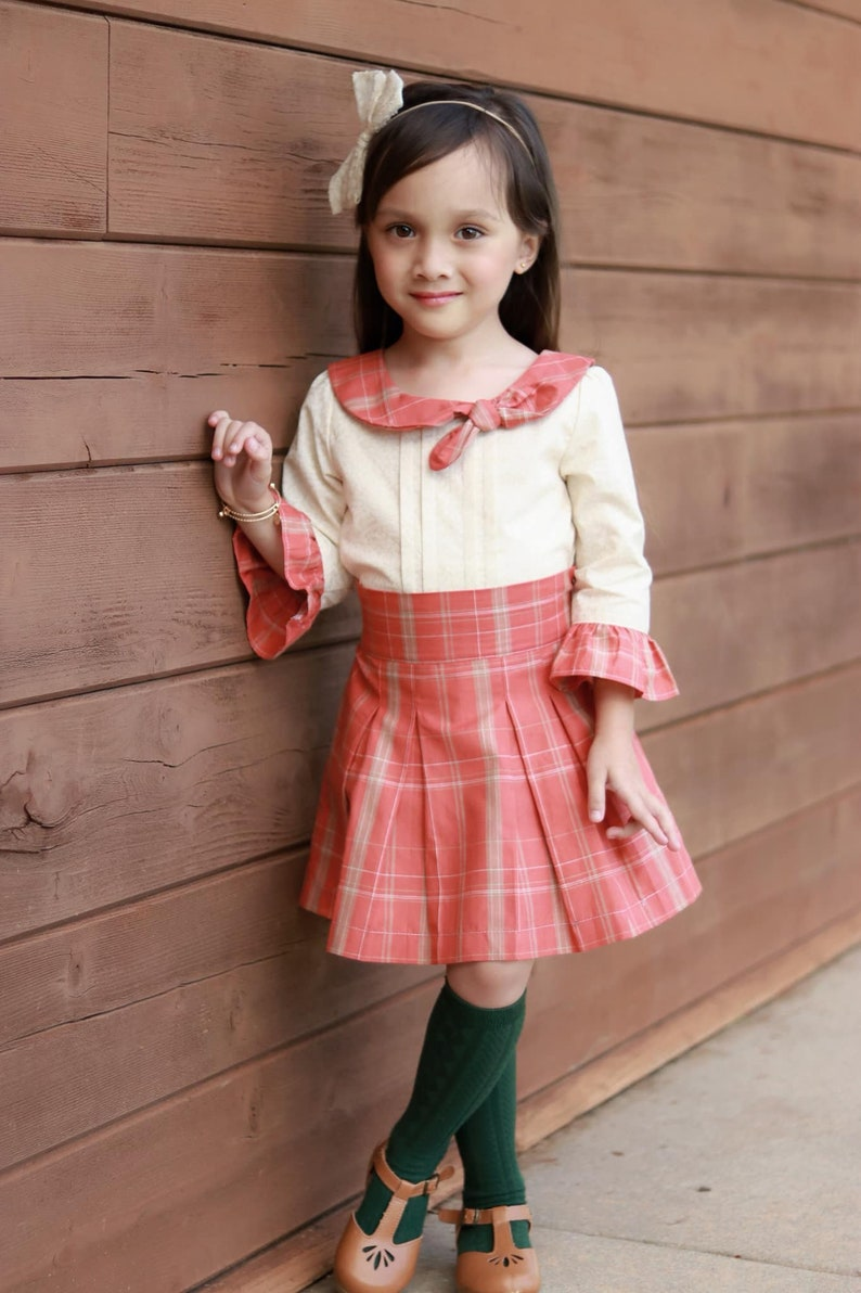 Party Special Occasion Fancy Collar Blouse Pleated Blouse Girls Blouse Ruffle Sleeve Shirt Cotton Top Girls Handmade Top
