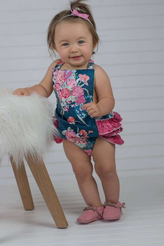 a81f522fd Baby Girl Ruffle Romper - Baby Bubble Romper - Navy and Pink Romper -  Floral Romper - Boutique Fashion - Toddler Romper - Spring Romper