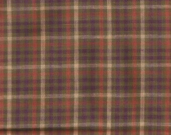 1990s Pre-washed Vintage Olive and Cream Check Homespun Cotton Fabric