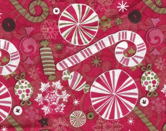Red Candy Cane Peppermint Candy Print Cotton Fabric / half yard