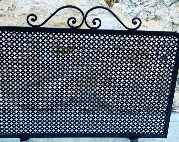 Grate, fireplace screen in perforated black metal, Mathieu Mategot rare and collector, vintage