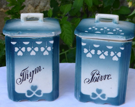 Art deco spice jar, thyme and pepper, clover motifs, blue green earthenware, Stamped: Glam