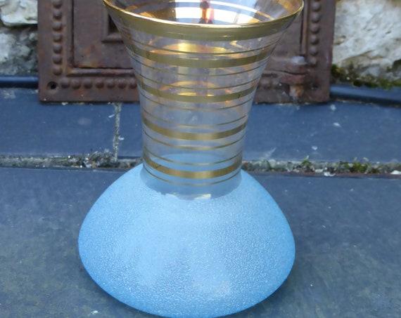 Blue granite glass vase with vintage gold edging 1950