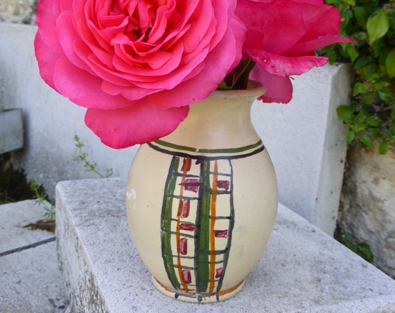 Ceramic vase turned and painted by hand, design and vintage 1950