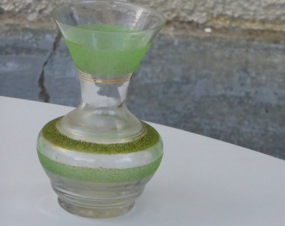 Vase in green granite glass, transparent and gold edging, vintage 1950