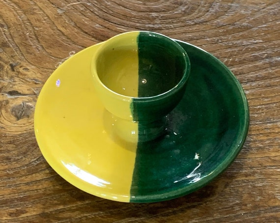 Two-tone yellow and green enameled ceramic egg cup