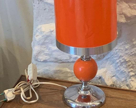 Vintage 1970's orange wood and metal table lamp
