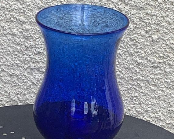 Tealight holder, Cobalt blue blown glass candle holder, BIOT glassware, sign, made in France, vintage,