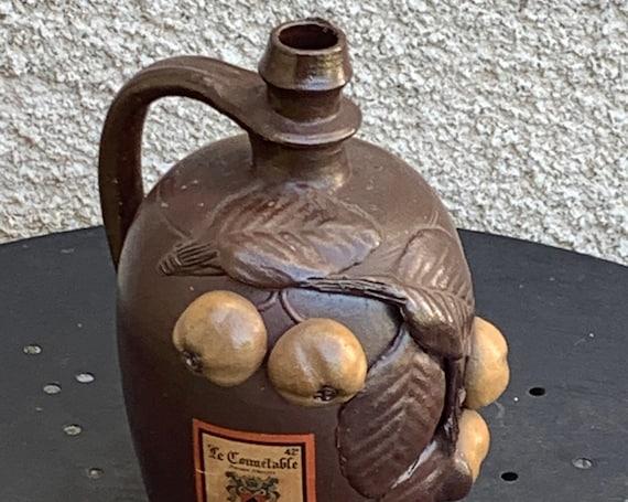 Glass liqueur bottle, BARBOTINE, vintage 1970 apple decor Old bottle of calvados, madein france
