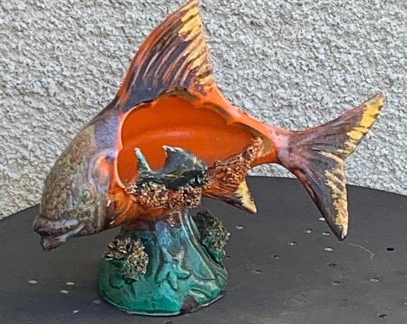 FISH in glazed ceramic Vallauris, Vintage night light 1960