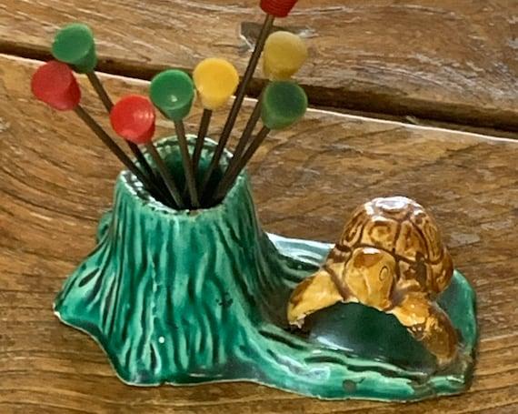 Servant spades in enamelled ceramic slip turtle and tree trunk vintage 1950/60