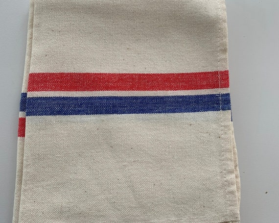 Two old tea towels red and blue stripes, very good quality, kitchenalia