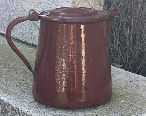 Art deco enameled iron coffee or water pot, burgundy red, gray interior, old