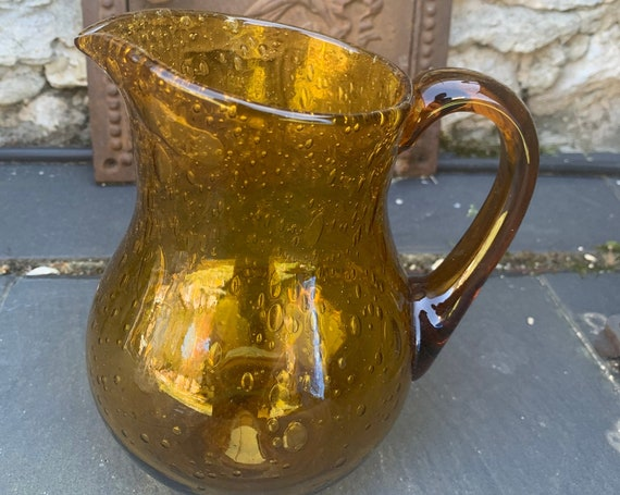 Blown glass and bubble decanter in vintage biot ocher.