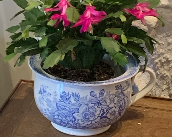Old earthenware pot, Belle Epoque old chamber pot decorated with blue flowers, collector