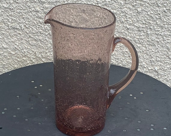 Decanter, straight jug in blown pink glass, signed by vintage biot glassware.