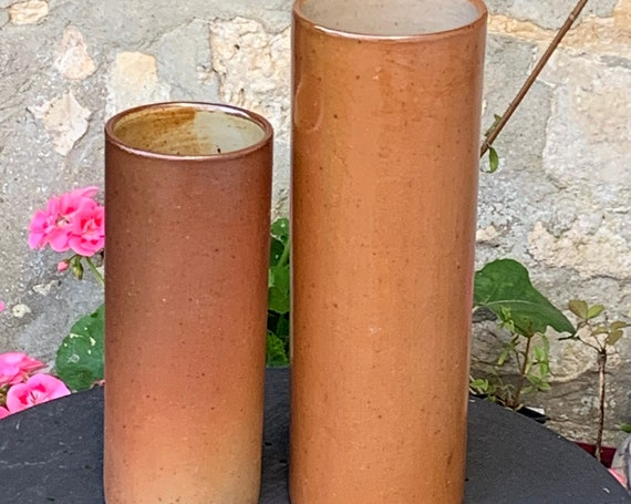 Magnificent pair of stoneware roll vases, design and vintage
