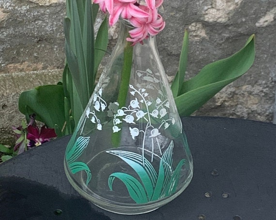 Transparent glass carafe with bouquets of lilies of the valley vintage serigraphs 1950
