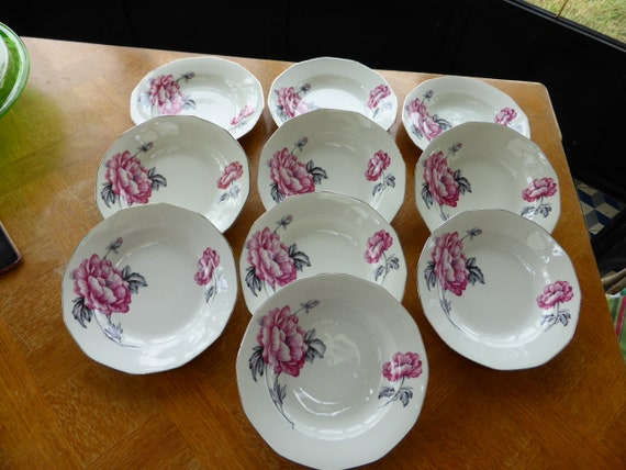 10 soup plates porcelain model peonies, art deco, octagonal, stamped HB