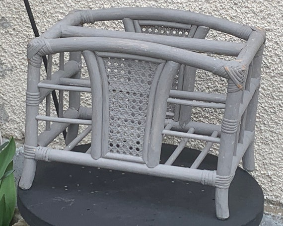 Bamboo and rattan magazine rack, vintage gray cane.