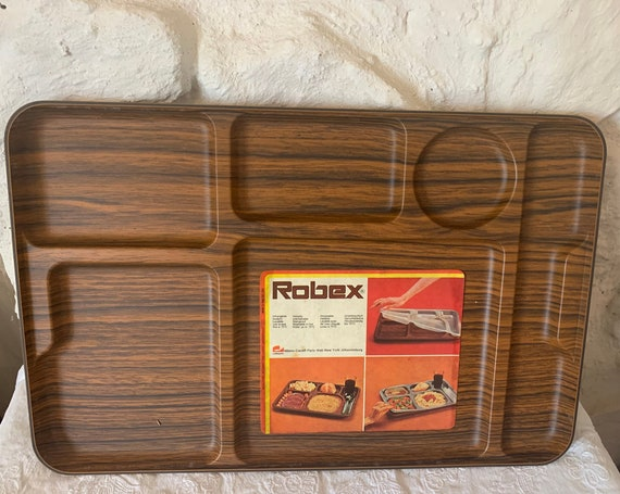 Rectangular meal tray with compartments, ROBEX brand, Caleplo made in Italy vintage 1970, collector